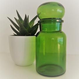 Vintage stopfles/pot groen glas uit de 70's, 25 cm