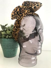"""Haarband met ijzerdraad """"uit eigen atelier"""", panter"""