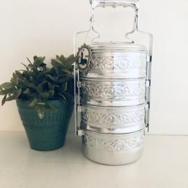 Vintage thaise Tiffin/Bento lunchbox aluminium