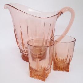 Vintage karaf met 2 glazen ( 50er jaren)