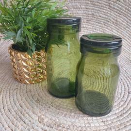 """Vintage set van 2 grote groene glazen potten met deksel van """"Bülach"""""""