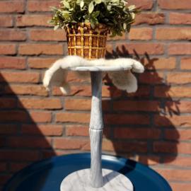 Vintage grijs marmeren planten tafel/zuil , H 43,5 cm.