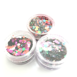 Glitters chuncks 1/2/3 mm SET van 3 mixen