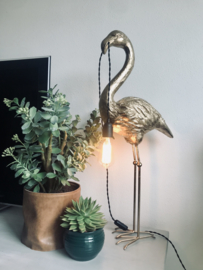Flamingo lamp goud en zwart