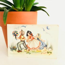 Vintage ansichtkaart uit de jaren '60; 2 meisjes en een jongen