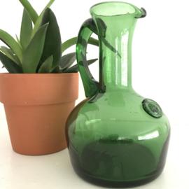 Vintage  groen glazen schenkkan/ vaas/ fles uit de 70's