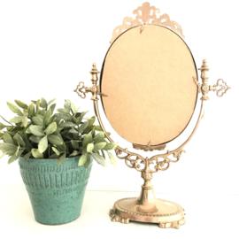 Vintage koperen staande ovale make up spiegel, gerestyled, H 39,5 cm