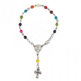 SALE: Rozenkrans-armbandje van gekleurde noten multi color