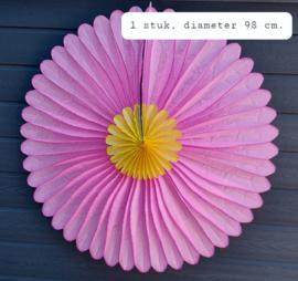Grote uitvouwbare papieren bloem, roze/ geel