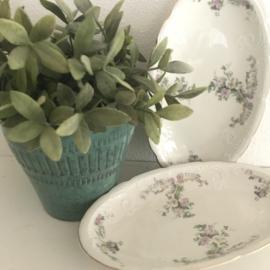 Vintage keramieken schaaltjes bloemen( 2 stuks)