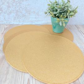 Huren:  placemats/ onderzetters goud glitter( 5 stuks)