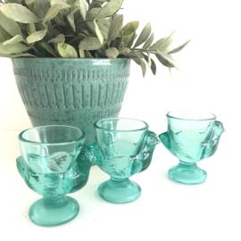 Vintage turqoise groene glazen eierdopjes van het Franse Luminarc