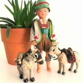 """Vintage """"WESTO"""" celluloid popje """"Remi"""" met 2 ezeltjes, 50/60'r jaren"""