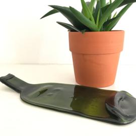 Kaasplateau platgeslagen fles groen gerecycled glas