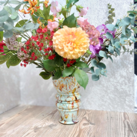 Vintage opaline  glazen vaas  met gekartelde rand,  H 24,5 cm
