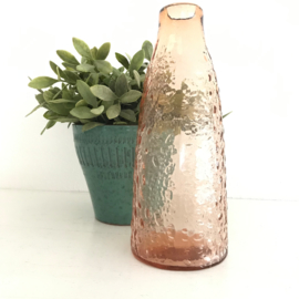 Vintage glazen vaas zacht roze, persglas uit jaren '50, nr. 17