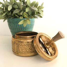 Vintage duw asbak, koper( ook wel roulette asbak genoemd)