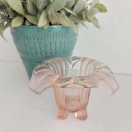 Vintage bonbon-potje/ vaasje roze pers glas, Ø 13,5