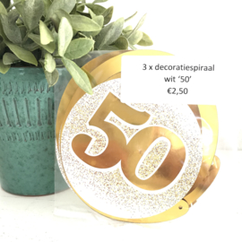 "3 decoratiespiralen goud/wit ""50 """