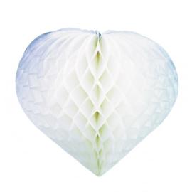 Wit Honeycomb hart, 20 x 20 cm( set van 2)