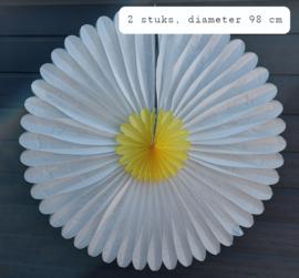Grote uitvouwbare papieren bloem, wit/ geel