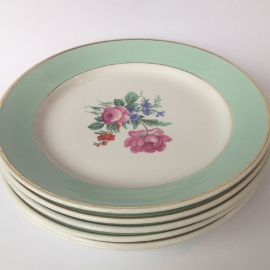"6 Franse vintage borden met bloemen ""Lunéville"""