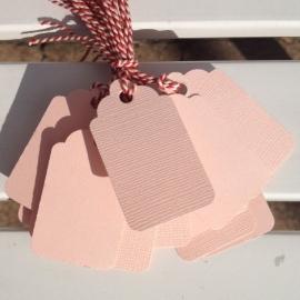 Prijs kaartjes( tags) oud roze L (set van 20 stuks)