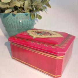 Vintage blik rood met rozen en goud decor