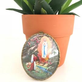 """Vintage bol glas schilderij """"verschijning van Maria, Lourdes"""" 2"""