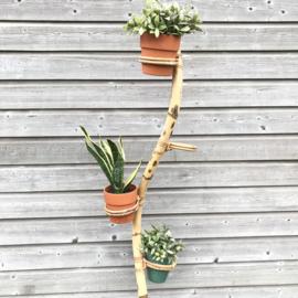 Vintage bamboe/ rotan plantenstandaard groot, 70's