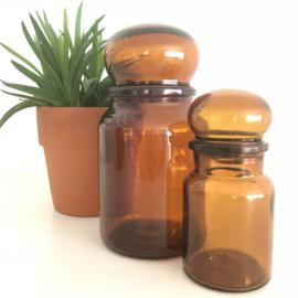 Vintage stopfles/pot bruin glas uit de 70's, 20,5 cm