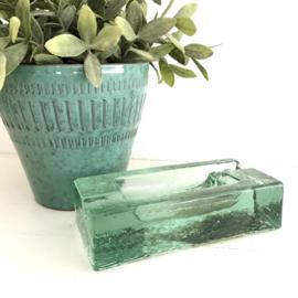 Vintage glazen asbak groen glas