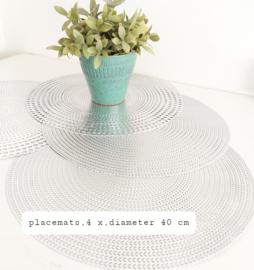 Huren:  Placemats zilver , Ø  40 cm, 4 stuks