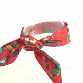 """Haarband lange """"oren"""" met ijzerdraad """"uit eigen atelier"""", rode retroprint"""