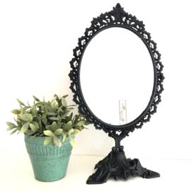 Vintage koperen staande ovale make up spiegel, gerestyled, H 48,5 cm
