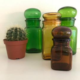 Vintage stopfles/pot bruin glas uit de 70's, 13,5 cm
