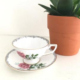 Vintage kop en schotel licht roze 91a, Royal York, Douwe Egberts