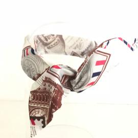 """Haarband lange """"oren"""" met ijzerdraad """"uit eigen atelier"""", crème retroprint"""