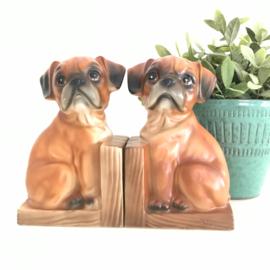 Vintage boekensteunen bruine hondjes, keramiek