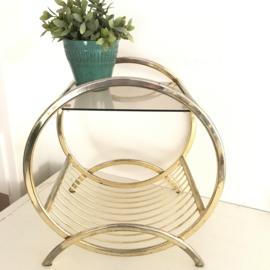 Vintage messing eclectisch bijzet tafeltje met glasplaat, jaren '50/'60