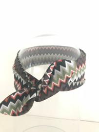 """Haarband met ijzerdraad """"uit eigen atelier"""", retro print groen/bruin/oranje/wit"""