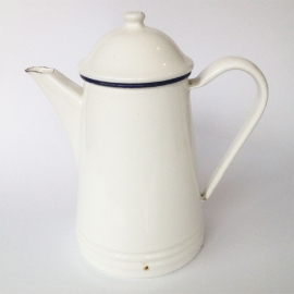 Vintage emaille koffie/ theepotje wit/blauw