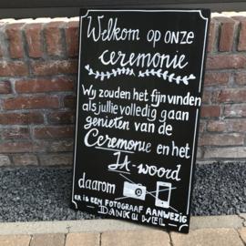 """HUREN bord: """"Gelieve niet fotograferen tijdens de ceremonie"""" ♥ Nr. 3"""