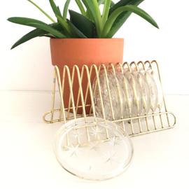 Vintage rekje met 6 glazen onderzetters