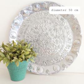 """Huren:  Dienblad aluminium, """"Oosters"""", Ø 50 cm"""