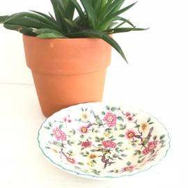 Vintage keramiek schaaltje bloemen en vogels