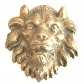 Vintage koperen buckle (riem gesp) leeuwenkop