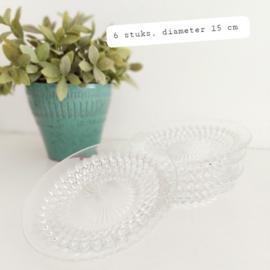 """Huren:  Glazen schaaltjes, """"kristal"""", Ø 15 cm, 6 stuks"""