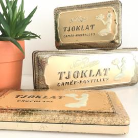 Vintage blik  Tjoklat, 3 verschillende