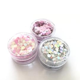 Glitters chuncks 1/2/3 mm SET van 3 uni kleuren